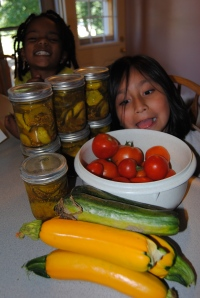 Pickles, zucchini, squash, tomatoes and silly girls!!  Oh my!!!!