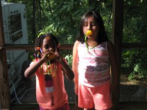 The girls with their Duck quackers.