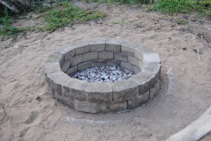 First, hubby and girls built a fire pit.