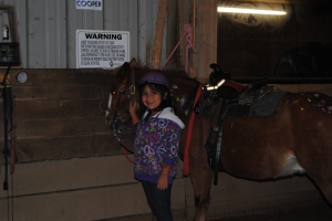 She was done painting and had him saddled and ready to ride out to be judged on Paint Your Pony.