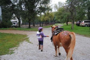 Lili and Cooper on their way back to the barn with her 3rd place ribbon and a package of finger paints.  She was thrilled!!