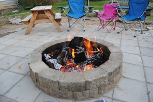 Our first fire in the new fire pit.