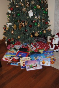 Our collection of wrapped and unwrapped Holiday books.