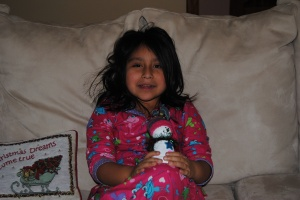 Lili with her snowman.