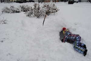 Digging out the snow tunnel