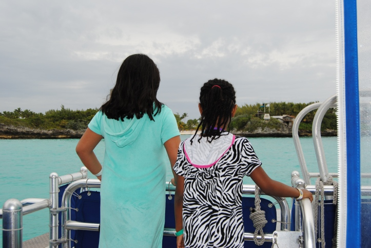 Approaching our Dolphin Encounter excursion at Blue Lagoon in the Bahamas.