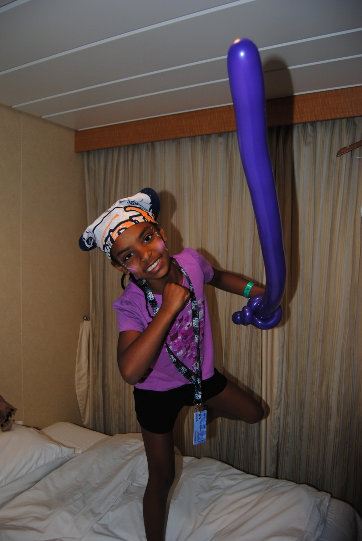 Royal Caribbean has a program for the kids called Adventure Ocean. The girls loved it and one day they decorated bandanas and did a Pirate Parade. Naomi was in character.