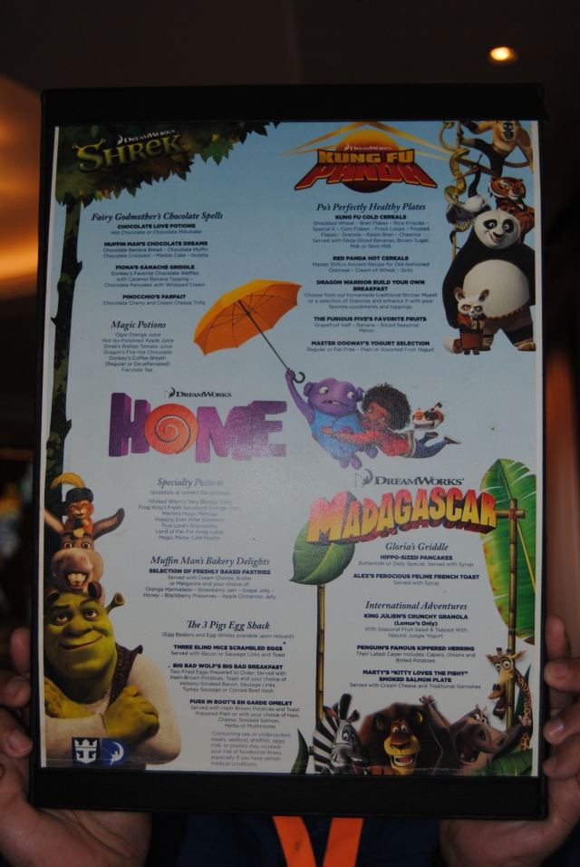 The menu from our character breakfast.