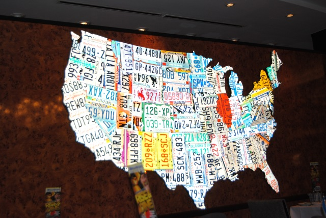 Some of the cruises on Royal Caribbean have DreamWorks characters. So we did a character breakfast one morning. This was on the wall in the dining room. Each state is made from license plates in that state.